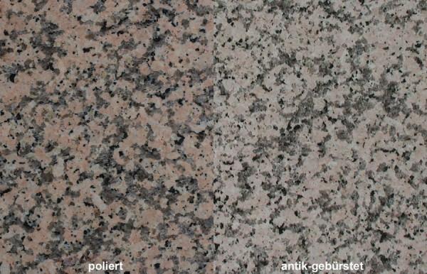 Terrassenplatten Granit Rosa Porrino gebürstet