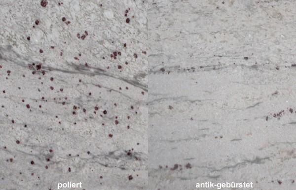 Terrassenplatten Granit River White gebürstet
